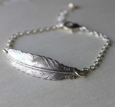 Feather Bracelet Silver Multiples discount  by threebirdsdesigns, $22.00