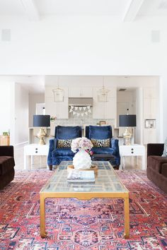 Easter Parade Home Tour - modern glam home decor, glam decor, Spring decor, pink and rug, pink and navy decor, pink and navy, white kitchen, gold lanterns
