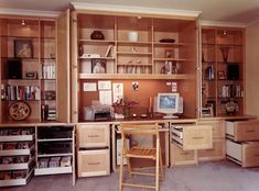 Home Office Wall Cabinet With A chair and some knickknacks on the shelf closet in Office Wall Cabinet Design Ideas