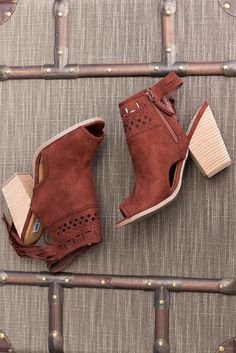 With A Hint Of Fringe Suede Peep Toe Booties (Rust)
