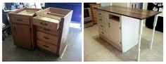 Hometalk :: Old Base Cabinets Repurposed to Kitchen Island