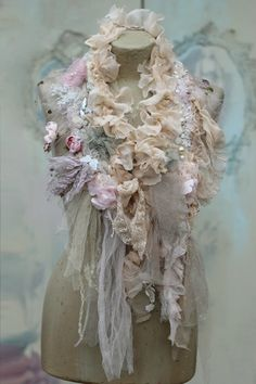 Winter romantic scarflette collar or boa shabby by FleursBoheme