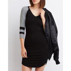 Charlotte Russe Varsity Stripe Raglan T-Shirt Dress ($25) ❤ liked on Polyvore featuring dresses, black, short fitted dresses, 3/4 length sleeve dresses, t-shirt dresses, t shirt dress and striped dress
