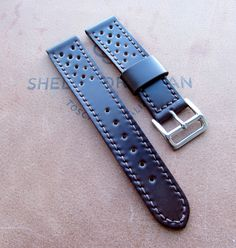 Shell Cordovan Racing strap - https://www.etsy.com/shop/difues #handmade #racing #watchstrap