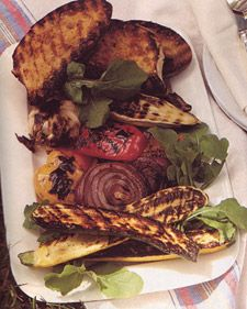 Grilled Vegetables and Tomato Bread--The softened grilled garlic is delicious spread on the tomato bread.