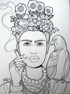 Frida Kahlo Coloring Page New Frida Kahlo Nelson Failing the Art Colony Pattern Coloring Pages, Colouring Pages, Coloring Books, Outline Drawings, Art Drawings, Kahlo Paintings, Mexican Pattern, Frida Art, Mexican Embroidery
