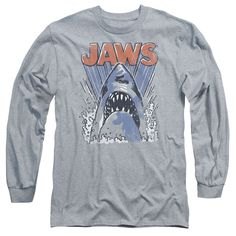 This Jaws Rising Shark Splash Retro Long Sleeve T-Shirt brings a vintage look to your casual wear. Printed to order and made of quality, 100% cotton. Adult sizes S, M, L, XL, and XXL.