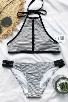 Cupshe Sunshine Road Halter Bikini Set