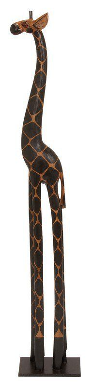 """Uma Wood Giraffe 59""""H, 11""""W 40314 - Uma Wood Giraffe 59""""H, 11""""W 4031459"""" Global Inspired Wood Look Standing Giraffe Sculpture, With Dark Natural Markings, On Wood Look Base.SKU: 40314Manufacture: UmaMaterial: Mdf Alibizia WoodColor: BrownFinish: CarvedTheme: Globe TrotterProduct Type: DecorShip By: UPSUPC Code: 758647403141Weight: 3.3Volume: 3.35"""