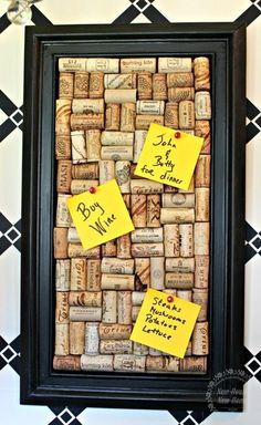 Don't throw out those wine corks. Save them to make this funky cork memo board. by diybric.blogspot.com