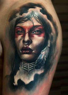 Realistic Indians Tattoo by Charles Huurman | Tattoo No. 12417