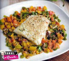 Bacalao con sésamo y verduras