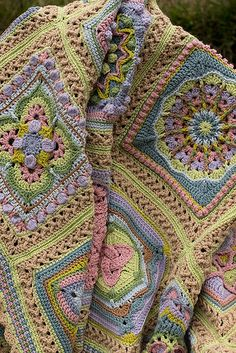 Crochet Pattern Afghans Whispers of Spring Afghan - Sampler with a variety of blocks from a number of designers. Granny Square Crochet Pattern, Crochet Blocks, Afghan Crochet Patterns, Crochet Squares, Crochet Motif, Crochet Designs, Free Crochet, Crochet Afghans, Granny Squares