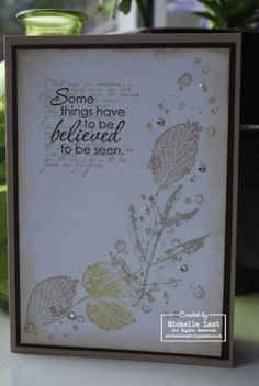 Beautiful, elegant french foliage card. Stampin up. Love the dark sentiment stamped on lighter text!