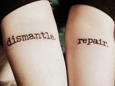 Done at Rousabout Tattoo in Cookeville, TN, USAThere are scars from self-harm under repair.Anberlin - Dismantle. Repair.
