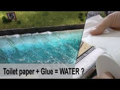 How to model REALISTIC ocean or lake water with wave effect low cost & easy, using toilet paper and glue. How To Make Water, Making Water, Diy Christmas Village Displays, Christmas Villages, Ocean Diorama, Water Modeling, Landscape Model, Paper Glue, Paper Paper