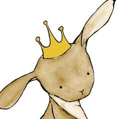 Royal Rabbit in a Mustard Crown 8X10 Children's Art Print