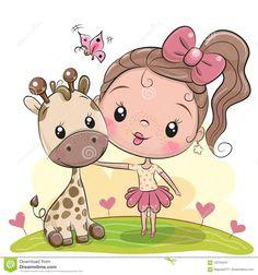 Buy Cartoon Girl with Giraffe by on GraphicRiver. Cute Cartoon Girl with giraffe on the meadow Cute Cartoon Girl, Cartoon Kids, Cartoon Memes, Cartoon Art, Disney Cartoon Characters, Fictional Characters, Unicorn Pictures, Donia, Cute Giraffe