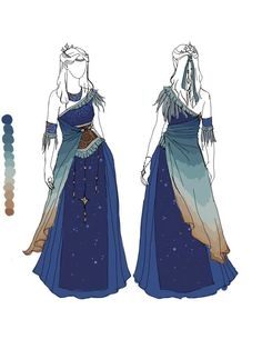 Evening Sky by IzzyLawlor (Would make a good Luna cosplay) Dress Drawing, Drawing Clothes, Outfit Drawings, Drawing Hair, Fantasy Dress, Fantasy Outfits, Fantasy Clothes, Fairy Clothes, Fantasy Costumes