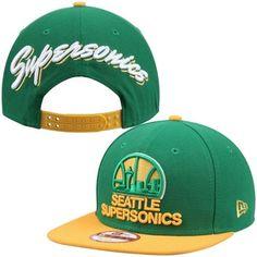 c07ef12c432 Men s Seattle SuperSonics New Era Green Script Flip Original Fit 9FIFTY  Snapback Adjustable Hat
