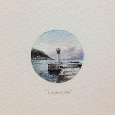 Day 61 : Kalk Bay Lighthouse. 26 x 26 mm. #365postcardsforants #wdc624…