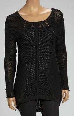 Black Pointelle Sweater