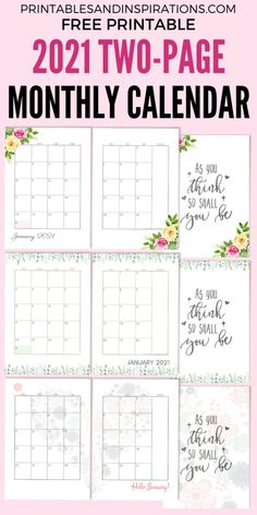 2021 Two Page Monthly Calendar Template - Free Printable! - Printables and Inspirations Monthly Planner Printable, Monthly Calendar Template, Free Printable Calendar, Templates Printable Free, Free Printables, Planner Pages, Planner Ideas, Planner Layout, Planner Inserts