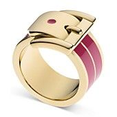 Michael Kors Ring, Gold-Tone Pink Barrel Buckle Ring