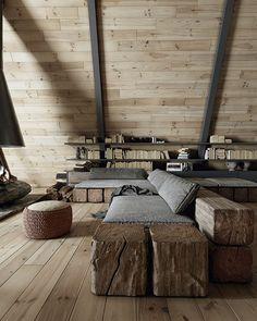 Una cabaña de ensueño en Lake Tahoe, California A Frame House Plans, A Frame Cabin, Tiny House Plans, Cabin Design, Tiny House Design, Architecture Sketchbook, Architecture Visualization, Metal Fireplace, Tiny House Nation