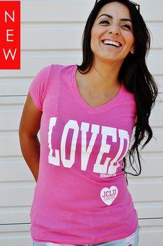 $17.99-Loved Pink V-Neck Romans 5:8 by JCLU Forever Christian t-shirts