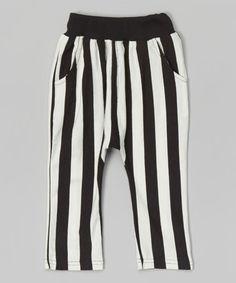 Look at this #zulilyfind! Black & White Stripe Harem Pants - Toddler & Kids by Leighton Alexander #zulilyfinds
