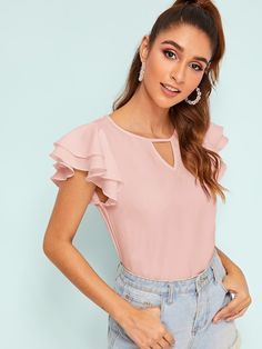 Shop Keyhole Neck Layer Flutter Sleeve Top at ROMWE, discover more fashion styles online. Summer Blouses, Summer Shirts, Romwe, Diy Clothes Tops, Plain Tops, Flutter Sleeve Top, Blouses For Women, Women's Blouses, Pulls
