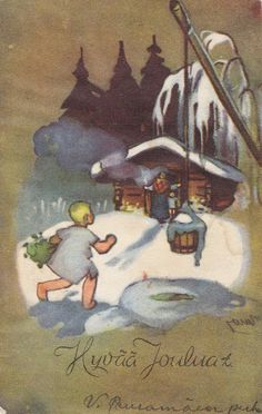 Martta Wendelin - Finland New Year Postcard, Storybook Cottage, Winter Art, Christmas Cards, Merry Christmas, Children's Book Illustration, Vintage Prints, Finland, Winter Wonderland