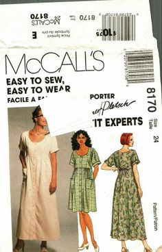 This dress gives you some room for a summer breeze. It's comfortable and pretty too! McCall's 8170 Pattern uncut 24 Loose Fit Dress Empire Short Dolman Sleeves Palmer Pletsch