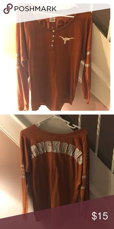 Victoria Secret Pink Texas Longhorns long sleeve Long sleeve orange shirt with silver and white writing on the back and sleeves size Medium PINK Victoria's Secret Tops Tees - Long Sleeve