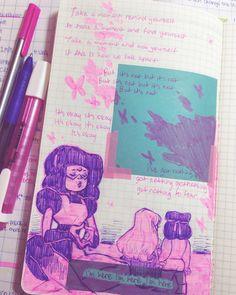 useless lesbian — a doodle in my journal to remind myself, its okay. Pokemon Fusion, Cartoon Network, Naruto E Boruto, Universe Art, Steven Universe Quotes, My Journal, Bullet Journal, Art Sketches, Art Reference