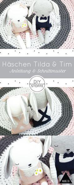 DIY Häschen Tilda & Tim nähen - Step by Step Näh-Anleitung & Schnittmuster bei diy-stoffe.de