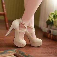Calçados Femininos Courino Salto Agulha Saltos Sandálias/Plataformas / Saltos Casual Preto/Amarelo/Bege – BRL R$ 114,57