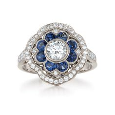 Mandala sapphire and diamond ring from the Kwiat Vintage Collection in 18K white gold