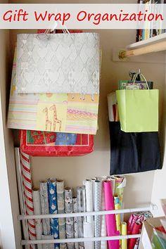 Gift Wrap Organization & Storage Gift Wrap Organization More from my siteDIY Room Organization and Storage Ideas! Craft Organization, Craft Storage, Closet Organization, Storage Ideas, Organizing Ideas, Closet Hacks, Organising, Gift Wrap Storage, Wrapping Paper Storage