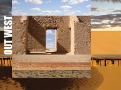 OUT WEST | alan innes | 2010. Graphic art. Photo montage. One of a series of layered landscapes. Photos taken in the Birdsville AU area by Karl Innes and friends c2000s.