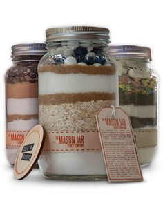 Customize cookie mix, name it, and hang a personalized label off of your mason jar-housed concoction. To bake, just add butter and eggs. Cookie Mix, $14-$22, The Mason Jar Cookie Company.