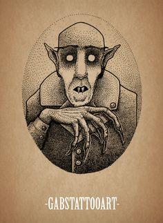 Nosferatu Count Orlok Tattoo design blackwork