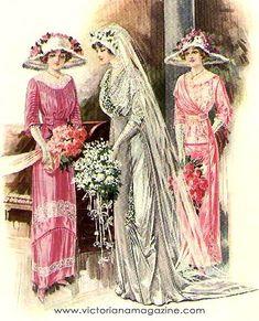Edwardian Clothing, Edwardian Era, Edwardian Fashion, Vintage Fashion, Wedding Dress Gallery, Wedding Dress Styles, Mode Vintage, Vintage Ladies, Wedding Illustration