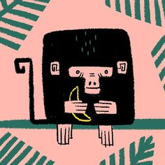 Carolina Buzio. A square #monkey as number 4! #100daysproject #100monkeys #illustration