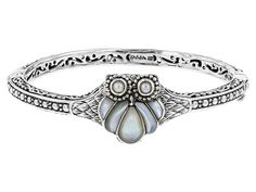 Artisan Gem Collection Of Bali(Tm) Mother Of Pearl And Cultured Freshwater Pearl Silver Owl Bracelet