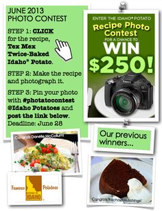 """June 2013 contest: (1) Click this pin to check out the recipe for this month's contest. (2) Make the recipe and snap a photo of it. (3) From your Pinterest home page, click """"Add +"""" at the top right corner. Select """"Upload a Pin"""" and find your photo. Pin the photo with #photatocontest and tag us in the description. Post a link to your pin in the comment section HERE or email it to famousidahopotatoes@gmail.com so we can find it! Contest ends June 28."""