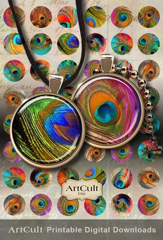 PEACOCK FEATHERS - 1 inch images Printable Digital collage for round pendants bezel trays glass cabochon mountings cameo settings Art Cult