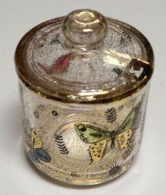 SOLD! Vintage Georges Briard Glass Jar Sugar Bowl Lid Gold Multi-Color Butterflies MCM