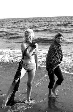"""missingmarilyn: """" """" I was surprised by the respect Marilyn's fans showed her during the sessions at Santa Monica Beach. No one bothered us; the people who gathered around spoke in whispers. Of course there were exceptions to the generally respectful..."""